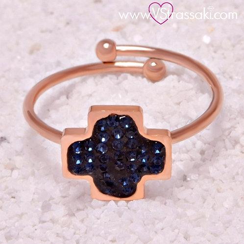 Ατσάλινο Δαχτυλίδι με Σταυρό Ροζ Χρυσό, Μπλε 2144