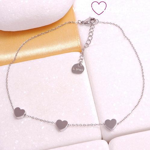Γυναικεία Αλυσίδα Ποδιού με Καρδιές από Ανοξείδωτο Ατσάλι Ασημί 9054