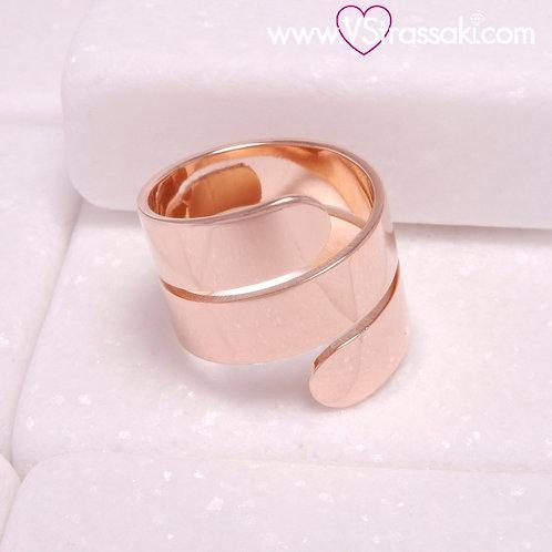 Ατσάλινο Δαχτυλίδι με Γεωμετρικό Σχέδιο Ροζ Χρυσό 2244