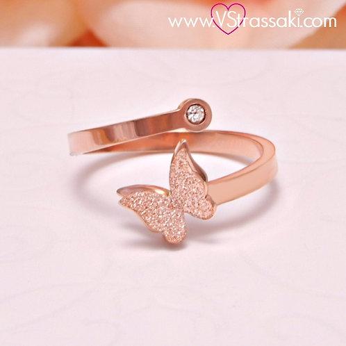 Γυναικείο Δαχτυλίδι με Πεταλούδα Ροζ Χρυσό Ατσάλι 2092