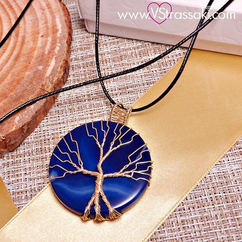 Κολιέ Με Μπλε Ρουά Αχάτη και Δέντρο Ζωής Χρυσό 4161