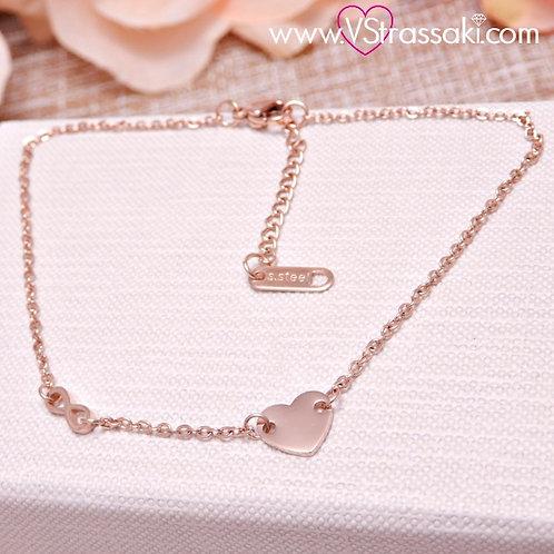 Γυναικεία Αλυσίδα Ποδιού με Καρδιά και Άπειρο Ανοξείδωτο Ατσάλι Ροζ Χρυσό 9002