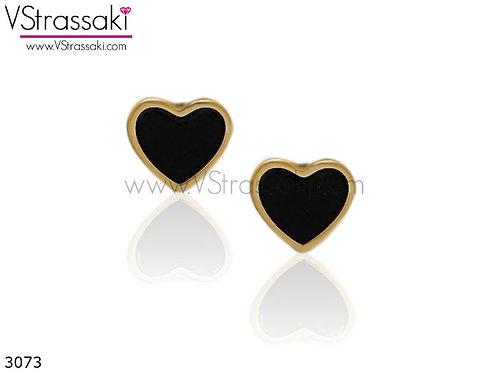 Σκουλαρίκια Καρφωτά 0.5cm LoveHeart Χρυσό Μαύρο Με Καρφάκι Από 925 Ασήμι 3073
