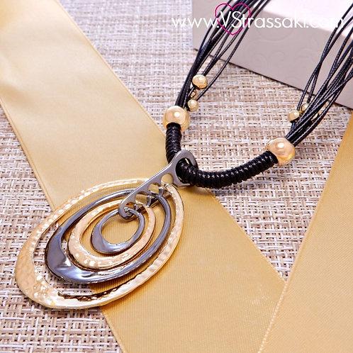 Κολιέ Με Οβάλ Σφυρήλατα Γεωμετρικά Στοιχεία RoughDream Χρυσό Μαύρο 4017