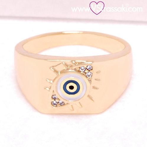 Ατσάλινο Δαχτυλίδι με Μάτι Χρυσό 2231