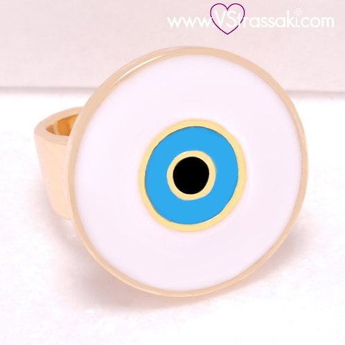 Ατσάλινο Δαχτυλίδι με Μάτι από Σμάλτο Χρυσό 2236
