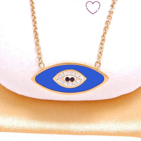 Ατσάλινο Κοντό Κολιέ Με Μάτι από Σμάλτο και Ζιργκόν, Χρυσό. Μπλε 4487