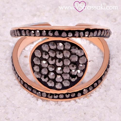 Ατσάλινο Δαχτυλίδι με Στρογγυλό Στοιχείο Ροζ Χρυσό 2137