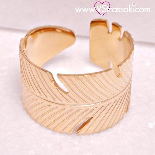 Ατσάλινο Δαχτυλίδι Φύλλο Χρυσό 2255