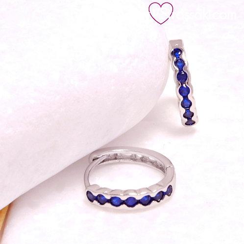 Σκουλαρίκια Κρικάκια Κοντά 1.2cm με Μπλε Χρώμα Ζιργκόνια Ασημί 3321