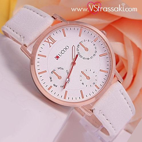 Γυναικείο Ρολόι CUCOO Με Λουράκι Δερματίνη SimpleTime Ροζ Χρυσό 5014