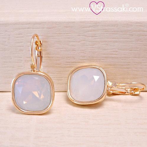 Σκουλαρίκια Κοντά 2.7cm με Opaque Λευκό Κρύσταλλο Χρυσό 3170