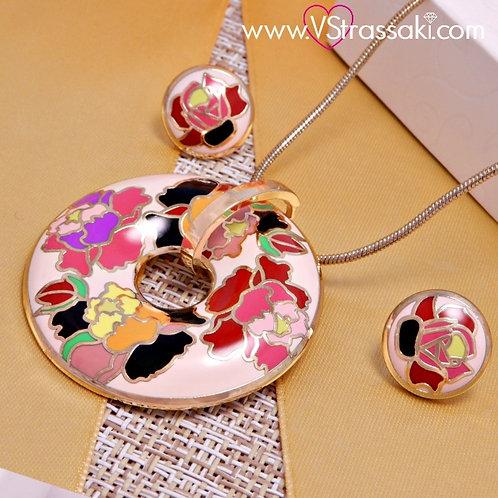 Σετ Κολιέ με Σκουλαρίκια Floral Set 948