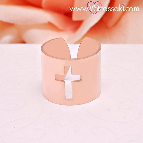 Γυναικείο Δαχτυλίδι με Σταυρό Ροζ Χρυσό Ατσάλι 2098