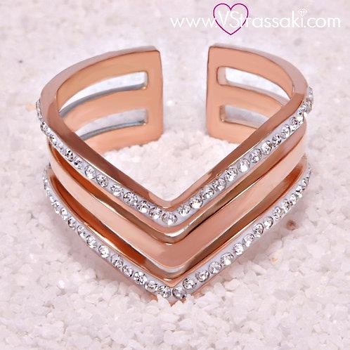 Ατσάλινο Δαχτυλίδι με Τριπλό V Ροζ Χρυσό 2106