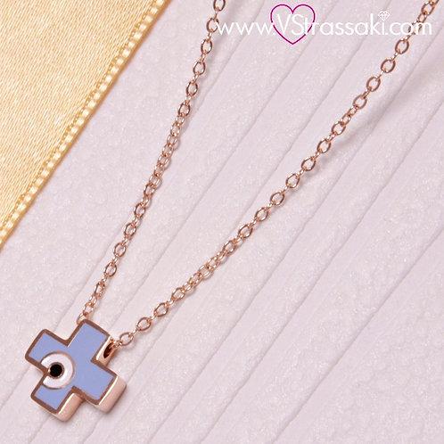 Ατσάλινο Κοντό Κολιέ Με Σταυρό Ματάκι από Σμάλτο Ροζ Χρυσό, Γαλάζιο 4190
