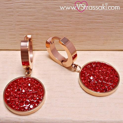 Ατσάλινα Σκουλαρίκια Κοντά 3cm με Στρογγυλό Στοιχείο με Στρας Ροζ Χρυσό 3197