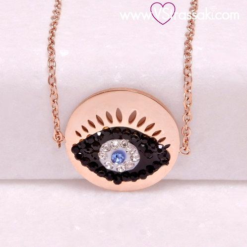 Ατσάλινο Βραχιόλι Με Μάτι Ροζ Χρυσό 6275