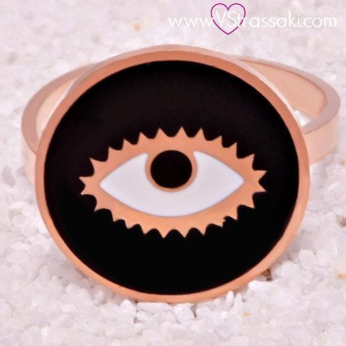Ατσάλινο Δαχτυλίδι με Μάτι από Σμάλτο Ροζ Χρυσό, Μαύρο 2130