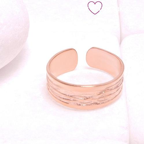 Ατσάλινο Δαχτυλίδι Βεράκι Σαγρέ Ροζ Χρυσό 2316