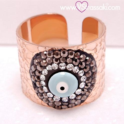 Ατσάλινο Δαχτυλίδι Σφυρήλατο με Μάτι και Στρας Ροζ Χρυσό 2211