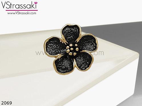 Δαχτυλίδι Μεταλλικό Με Λουλούδι RoundFlower Μαύρο Χρυσό 02069