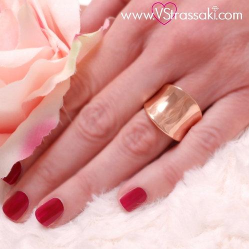 Ατσάλινο Δαχτυλίδι με Καμπύλη Ροζ Χρυσό 2172