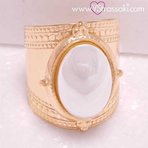 Ατσάλινο Δαχτυλίδι με Λευκή Πέρλα Χρυσό 2202