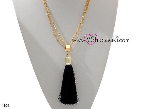 Τετραπλό Κολιέ Με Φούντα TasselNecklace Χρυσό Μαύρο 4104