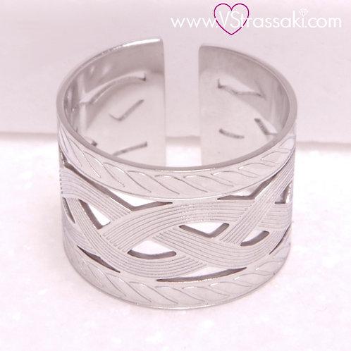 Ατσάλινο Δαχτυλίδι Σφυρήλατο Ασημί 2205