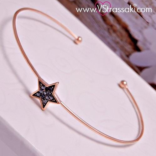 Βραχιόλι Χειροπέδα από Ορείχαλκο Slim Bracelet Ροζ Χρυσό 6064