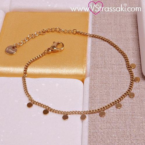 Ατσάλινο Βραχιόλι με Λεπτή Αλυσίδα και Κύκλους Χρυσό 6188