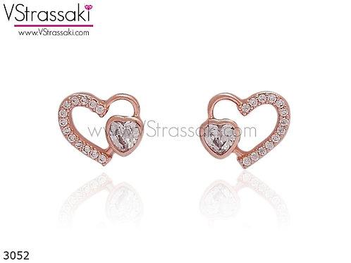 Σκουλαρίκια Καρφωτά 1cm DoubleHeart Ροζ Χρυσό Με Καρφάκι Από 925 Ασήμι 3052