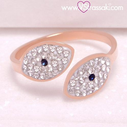 Ατσάλινο Δαχτυλίδι με Ματάκια Ροζ Χρυσό 2241