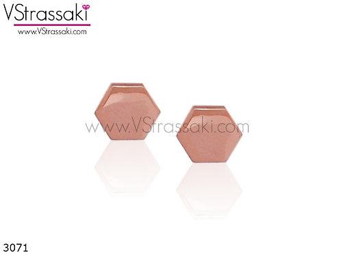 Σκουλαρίκια Καρφωτά 0.7cm SmoothHexagon Ροζ Χρυσό Με Καρφάκι Από 925 Ασήμι 3071