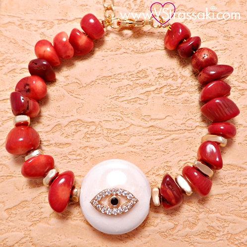 Βραχιόλι Με Μάτι από Κοράλι και Ατσάλι Χρυσό και Ροζ Χρυσό 6160