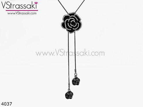 Κολιέ Με Λουλούδια BlackRose Ασημί Μαύρο 4037