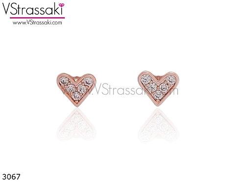 Σκουλαρίκια Καρφωτά 0.5cm LoveHeart Ροζ Χρυσό Με Καρφάκι Από 925 Ασήμι 3067