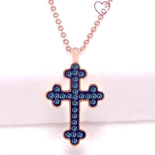 Ατσάλινο Κοντό Κολιέ Με Σταυρό Ροζ Χρυσό, Μπλε 4366