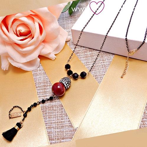 Κολιέ Με Χάντρες Και Μαύρη Φούντα Tassel Necklace 4136