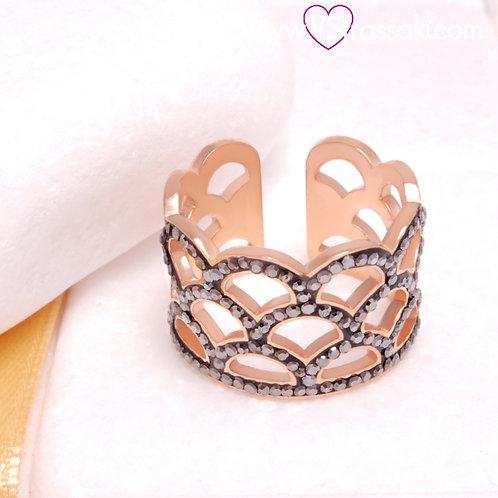 Ατσάλινο Δαχτυλίδι Στέμμα Ροζ Χρυσό, Γκρι 2270