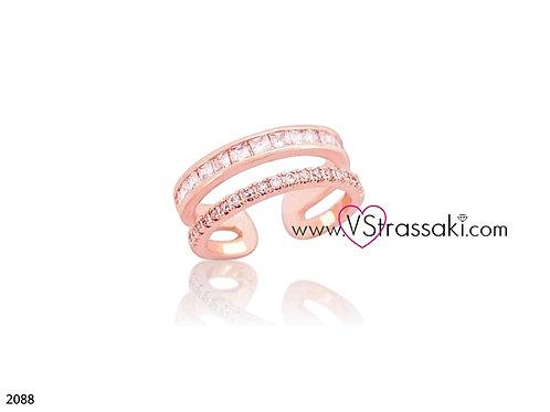 Δαχτυλίδι Δίσειρο Με Ζιργκόν DoubleRing Ροζ Χρυσό 2088