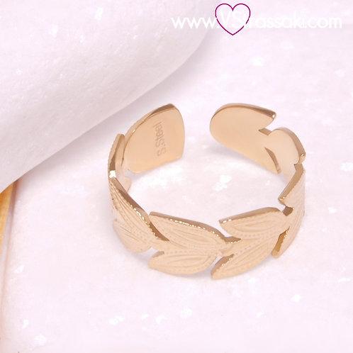 Ατσάλινο Δαχτυλίδι με Φύλλα Χρυσό 2263