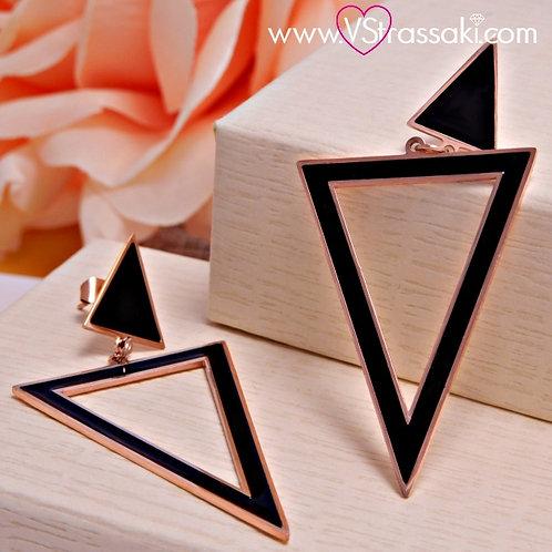 Σκουλαρίκια Μακριά 5.5cm Steel Earrings Από Ανοξείδωτο Ατσάλι Ροζ Χρυσό 3166