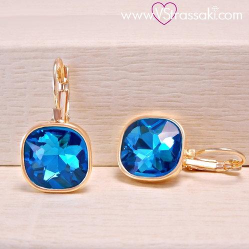 Σκουλαρίκια Κοντά 2.7cm με Ανοικτό Μπλε Κρύσταλλο Χρυσό 3182