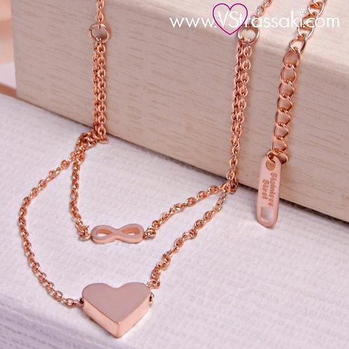 Μενταγιόν από Ανοξείδωτο Ατσάλι Steel Necklace Ροζ Χρυσό 4128
