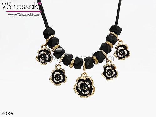 Κολιέ Με Λουλούδια Και Χάντρες BlackRoses Χρυσό Μαύρο 4036