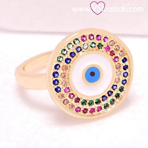 Ατσάλινο Δαχτυλίδι με Μάτι από Σμάλτο Χρυσό 2222
