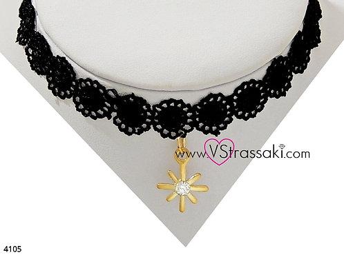 Κολιέ Choker με Δαντέλα ChokerNecklace Μαύρο Χρυσό 4105