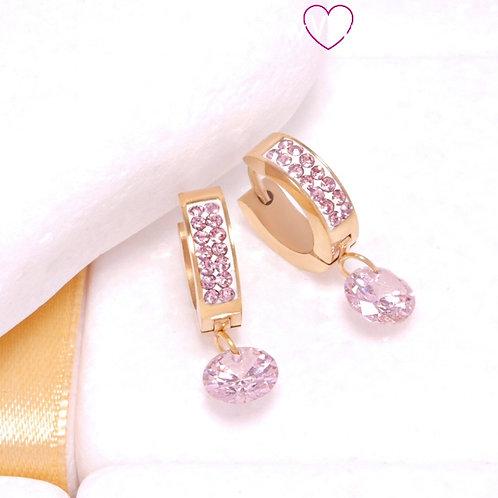 Ατσάλινα Σκουλαρίκια Κρίκοι με Ροζ Κρύσταλλο και Ζιργκόν Κοντά 2cm Χρυσό 3294